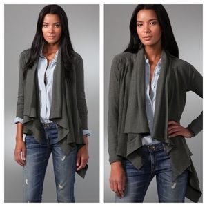 Splendid Fleece Ribbed Knit Draped Cardigan XS